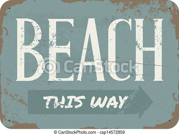 Vintage Beach Metal Sign - csp14572859