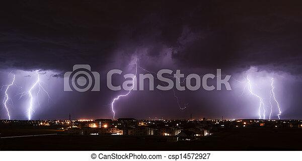 Lightning storm over city - csp14572927