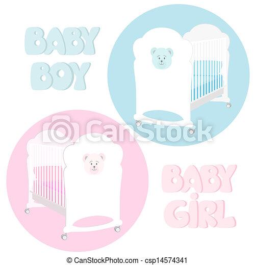 Tekening van baby kinderbed twee veldbedden voor een jongen en csp14574341 zoek - Twee meisjes en een jongen ...