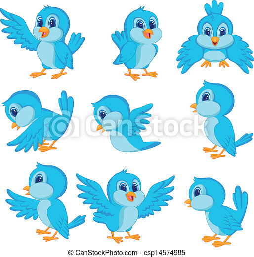 Cute blue bird cartoon - csp14574985
