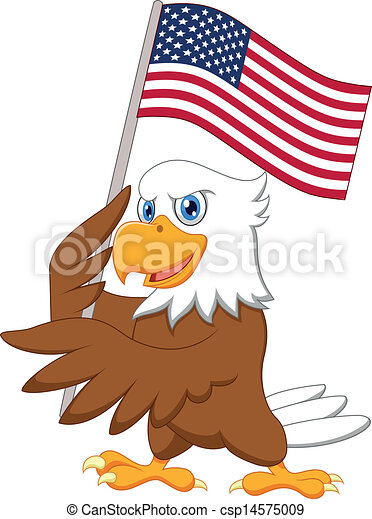 Eagle cartoon holding American flag - csp14575009