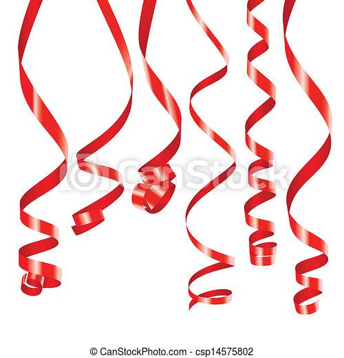 Clipart Vecteur de rouges, fête, rubans - rouges, vecteur ...