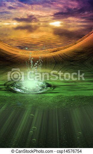 Fantasy landscape with splash - csp14576754