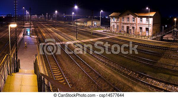 Historic train station, at night - csp14577644