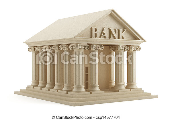 isolato, banca, icona - csp14577704
