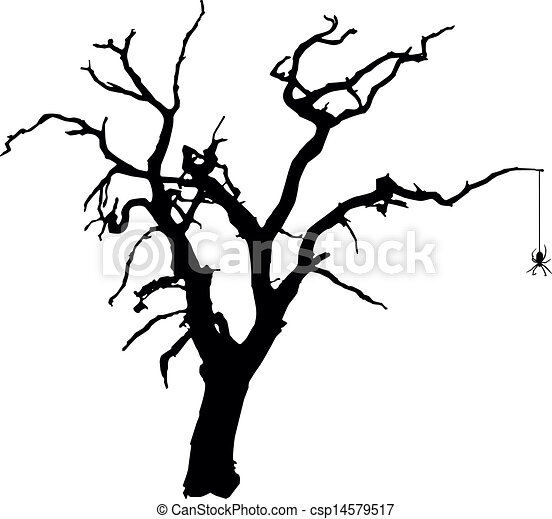 Spooky Vector Tree with Spider Scary Tree Silhouette Clip Art