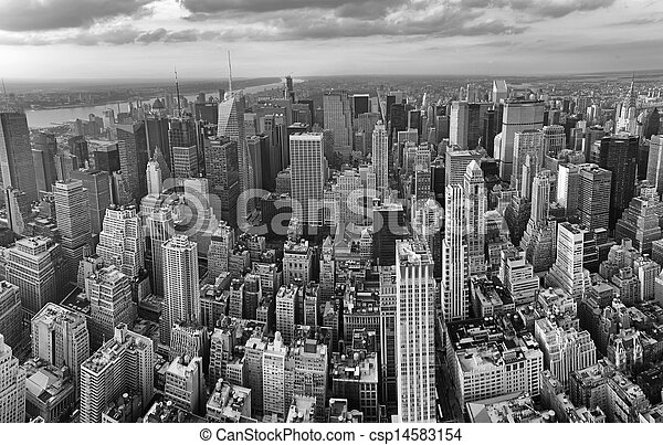 New York City. Wonderful panoramic aerial view of Manhattan Midtown Skyscrapers. - csp14583154