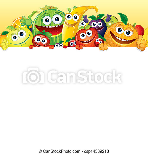 Cartoon Fruit and Berries with White Background - csp14589213