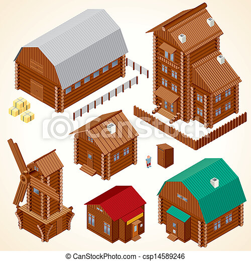 Isometric Wood House. Rural Houses and Log Cabins - csp14589246