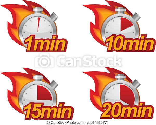 Illustrations vectoris es de ensemble minuteur 1 - Minuteur 10 minutes ...