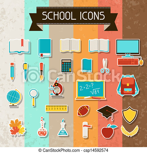 School and education sticker icons set. - csp14592574