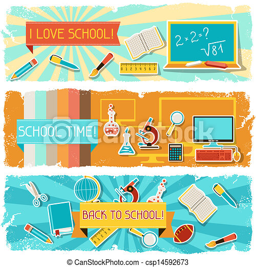 Horizontal banners with an illustration of school objects. - csp14592673