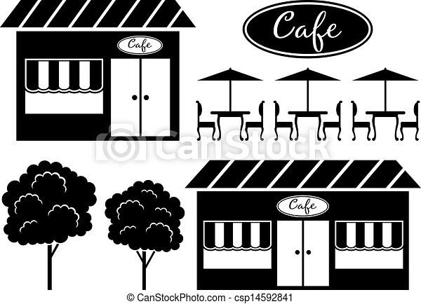 Black Icon Of Cafe 14592841 on English Style House Plans
