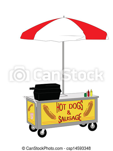EPS Vector of hot dog street vendor - vendors cart selling ...