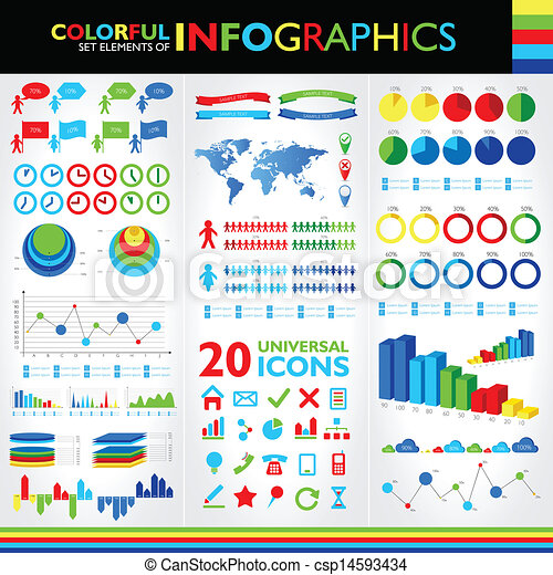 Free Infographic free infographics icons : Vectors of Colorful infographics set and vector universal icons ...