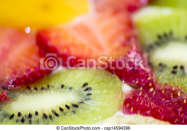 detail of a tart kiwi and strawberr - csp14594396