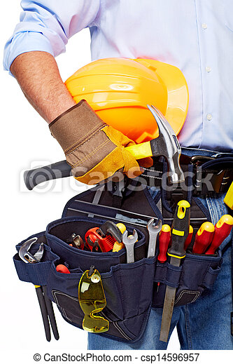 Worker with a tool belt. Construction. - csp14596957
