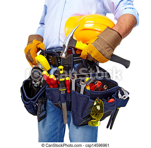 Worker with a tool belt. Construction. - csp14596961