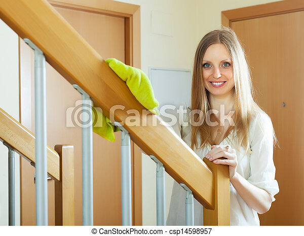images de femme nettoyage bois escalier grille maison gai csp14598957 recherchez. Black Bedroom Furniture Sets. Home Design Ideas