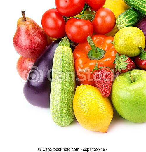 Collection of vegetables and fruits isolated on white background - csp14599497