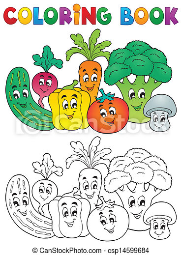 Coloring book vegetable theme 2 - csp14599684