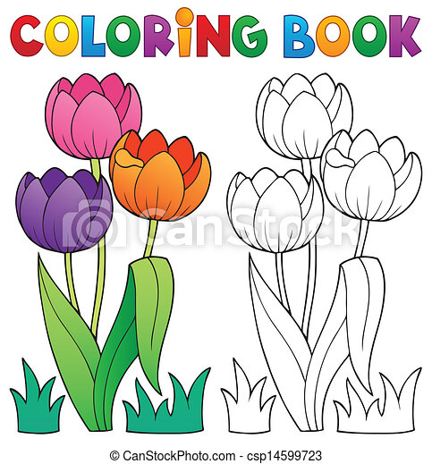 Coloring Book 4 : Vector illustration of coloring book with flower theme 4 eps10