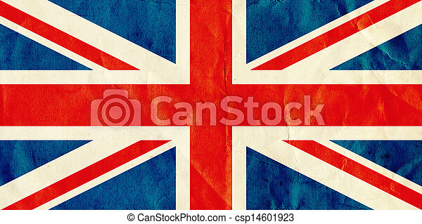 British Union Jack flag on old textured paper. - csp14601923