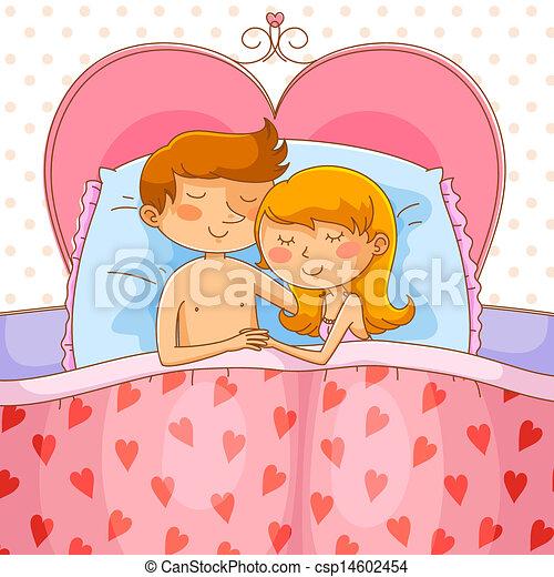 vecteur clipart de couple lit heureux aimer couple dormir dans leur csp14602454. Black Bedroom Furniture Sets. Home Design Ideas