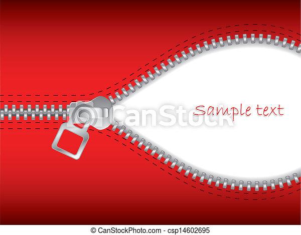 EPS Vectors of Zip it 2 - Open red zipper with white space ...