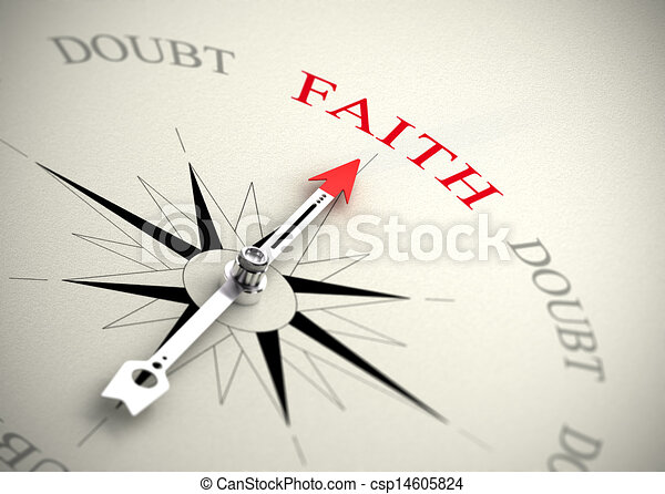 Faith versus doubt, religion or confidence concept - csp14605824