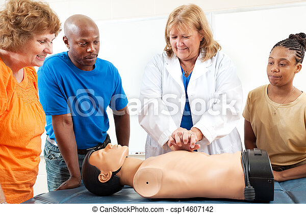Adult Education Students Learn CPR - csp14607142