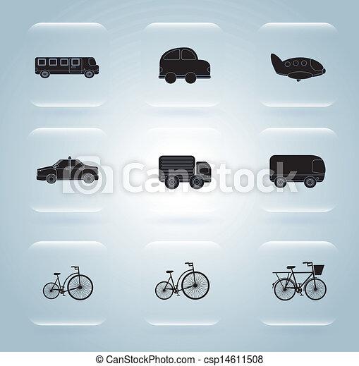 transportation icons over blue backg - csp14611508