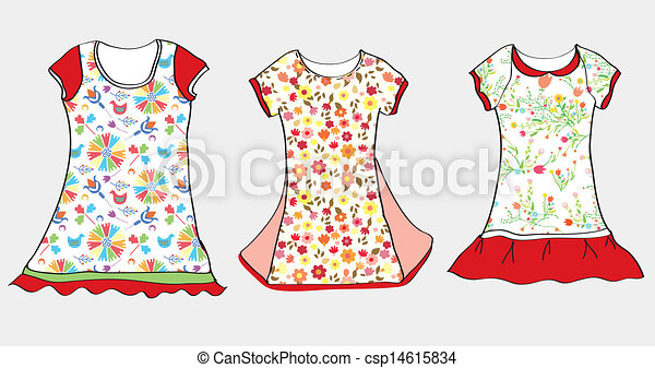 Vectors of Dresses and t-shirt design for girl child ...