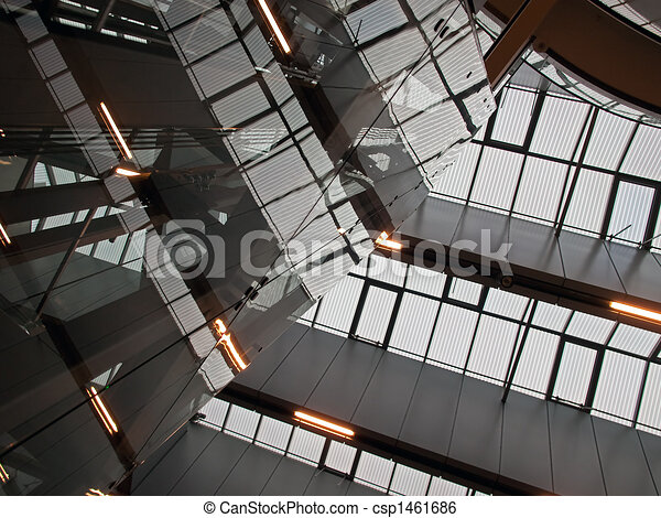 Geometric abstract architecture ceiling of modern IT business corporate office building - csp1461686