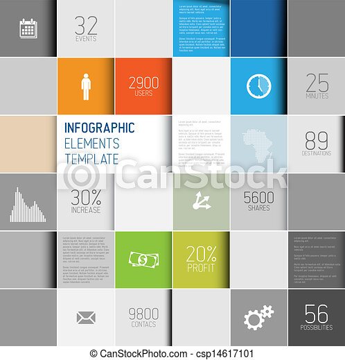 Vector abstract squares background illustration / infographic template - csp14617101