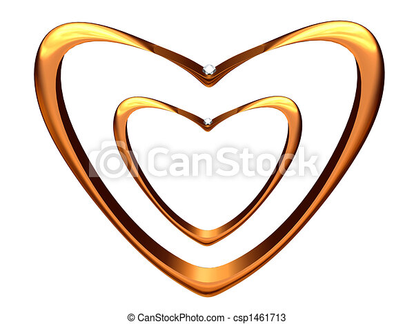 Two wedding rings bent in the form of hearts. - csp1461713
