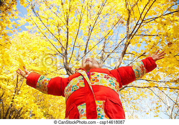 Child in autumn park. Outdoor. - csp14618087