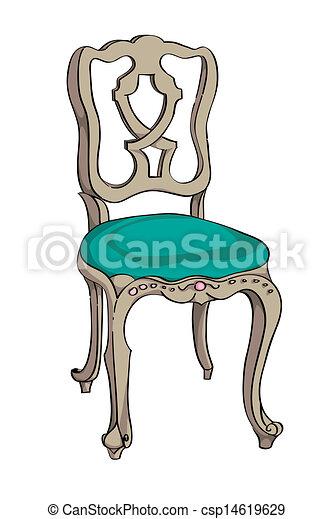 Clip art de baroque chaise rococo chaise color for Comment dessiner une chaise