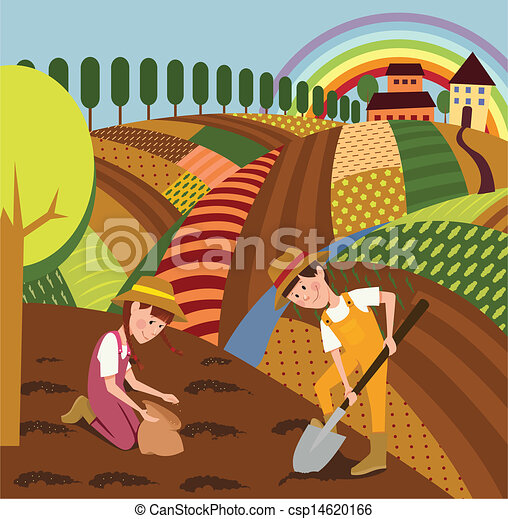 Rural landscape and farmers - csp14620166