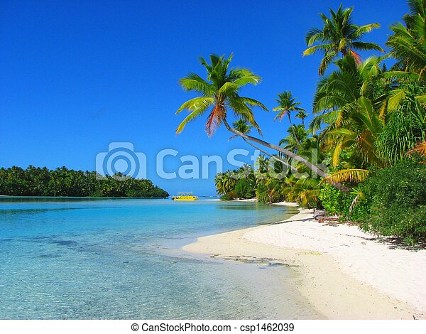 Beautiful beach in One Foot Island, Aitutaki, Cook Islands - csp1462039
