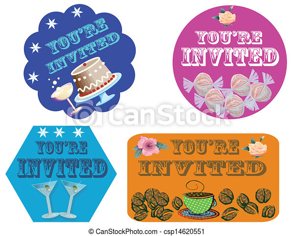 Clipart Vector of You're invited-labels - Labels with text You're ...