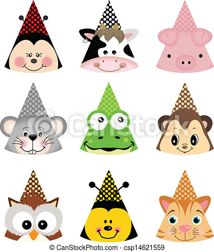 Clipart Vector of Animal Party Hats - Scalable vectorial ...