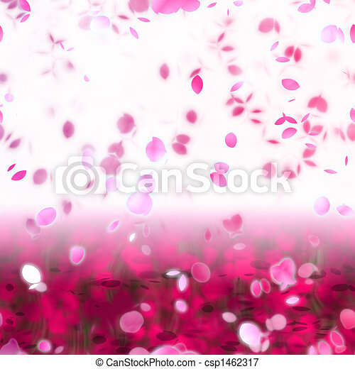 Sakura Snowfall Petals Abstract Background - csp1462317
