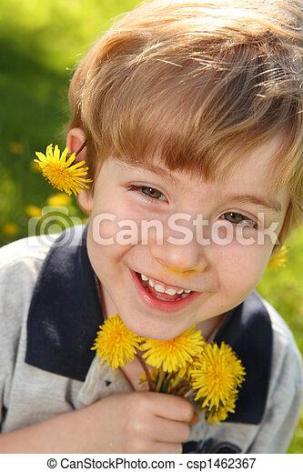 Boy with Dandelions