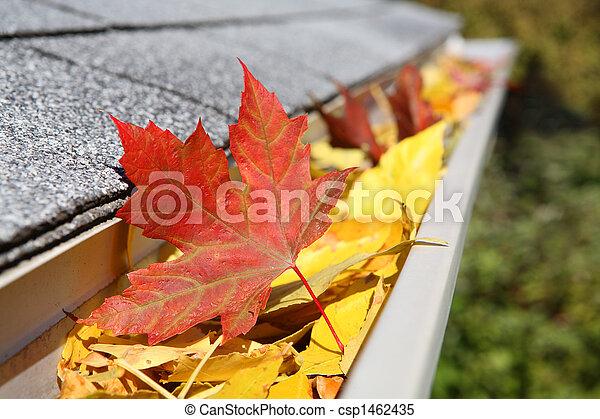 Rain Gutter full of leaves - csp1462435