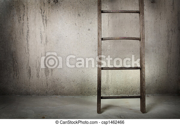 Old wooden ladder on a cement wall - csp1462466