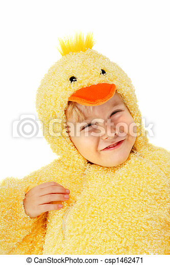 Boy in a chicken costume - csp1462471
