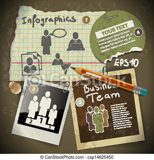 set of infographics from torn pieces of paper in vintage style scrapbooking with pencil drawing - csp14625450