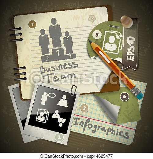 set of infographics from torn pieces of paper in vintage style scrapbooking with notepad - csp14625477