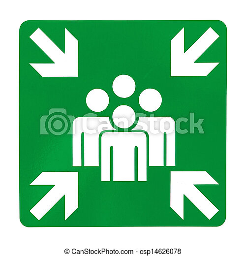 Green assembly point sign - csp14626078